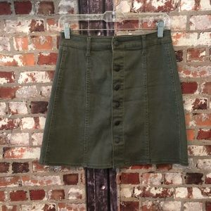 Mossimo Olive Green Button Down Highwaisted Skirt
